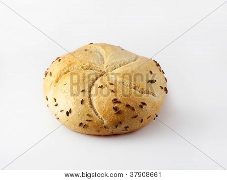 Caraway kaiser roll isolated on white