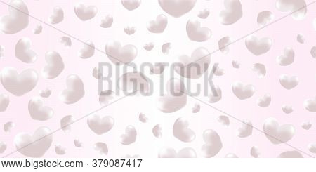 Pink Flying Pearl, Hearts Love Passion Seamless Background. Realistic Confetti Love Signs For Your G