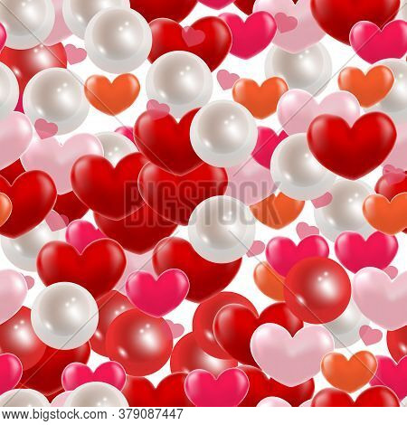 Red Flying Pearl, Hearts Love Passion Seamless Background. Realistic Confetti Love Signs For Your Gr