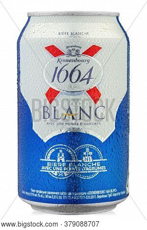 Ukraine, Kyiv - June 22. 2020: Aluminium Can Beer  Kronenbourg 1664 Blanc On White Background. Water
