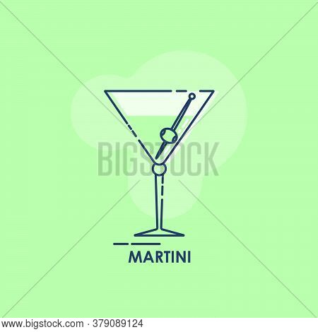 Wineglass For Martini With Olive On A Skewer Line Art In Flat Style. Restaurant Alcoholic Illustrati