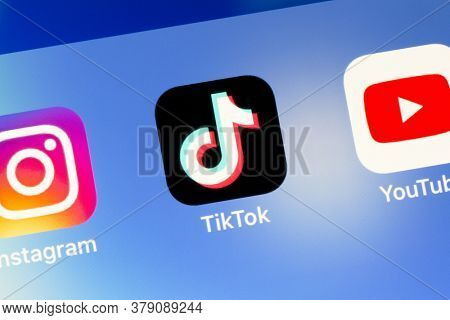 Ostersund, Sweden - August 2, 2020: Tiktok app icon. Tiktok is a Chinese video-sharing social networking service
