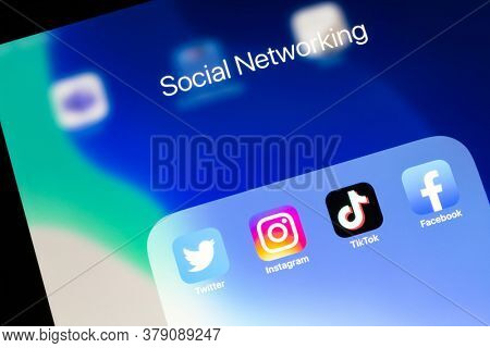 Ostersund, Sweden - August 2, 2020: Social media app icons  Social media are applications that allow people to share content.