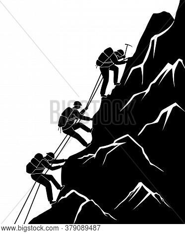 Silhouette Traveling People. Climbing On Mountain. Vector Illustration Hiking And Climbing Team. Squ