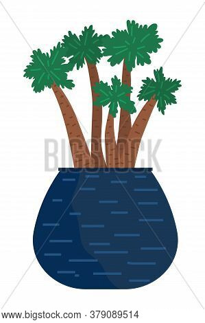 Pot With Houseplant Isolated At White Background. Vector Flowerpot Of Decorative Green Plant Of Bamb