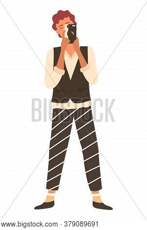 Photographer In Striped Trousers Making Shoots By Amator Camera Isolated. Vector Photographing Perso