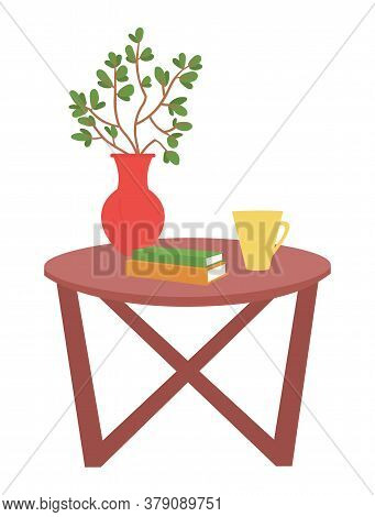 Home Interior Vector, Furniture Wooden Table With Vase And Flower In It, Foliage Branches And Books