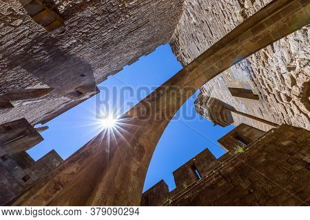 Fortified Arches Connecting The Castle Walls In Carcassonne Town