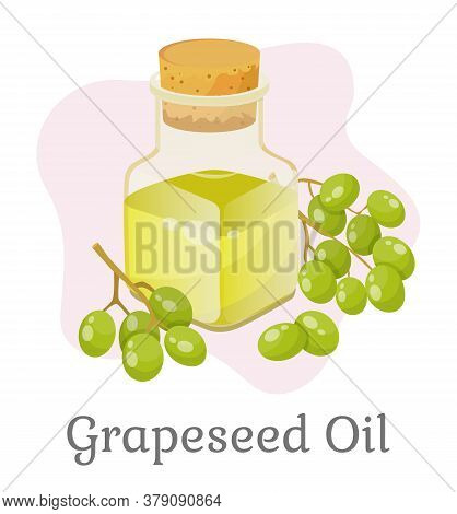 Glass Bottle Closed With Bung With Liquid Inside. Branch With Green Small Grapes. Vessel With Grapes