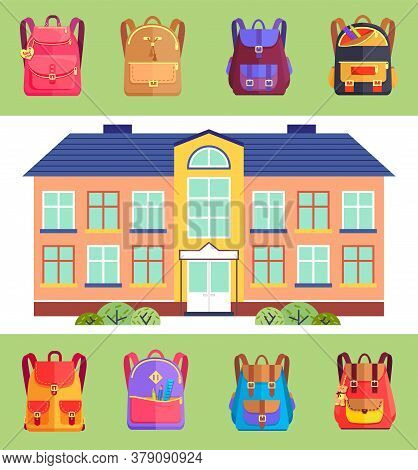 School Building With Set Of Schoolbag Icons In Different Colors And Styles. Bags For Pupils Or Stude