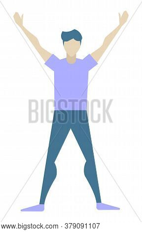 Young Man Doing Morning Exercises Alone. Athletic Guy Spend Time Actively With Sport Or Yoga. Adult
