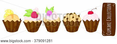 Set Of Different Cupcakes With Strawberries, Cherry, Chocolate And Whipped Cream. Cute Desserts Coll