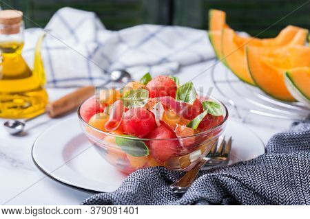 Healthy Clean Eating, Dieting And Nutrition, Seasonal, Summer Meal Lunch Concept. Fruit Salad With M