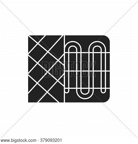 Heater Black Glyph Icon. Device For Supplying Heat, For Example A Radiator Or A Convector. Pictogram