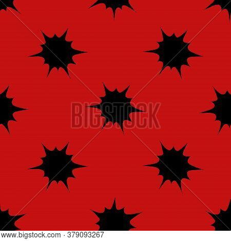 Boom. Black Spots On The Wall. An Endlessly Repeating Ornament. Seamless Vector Pattern. Isolated Re