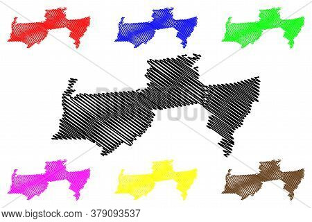 Para District (surinam, Republic Of Suriname) Map Vector Illustration, Scribble Sketch Para Map