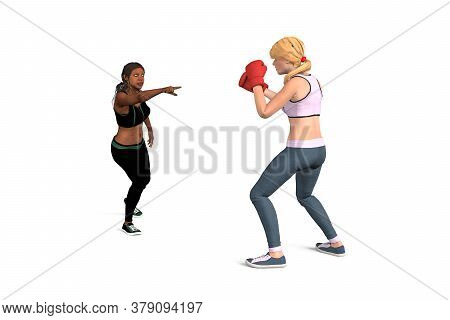 Two Women Before The Fight - A Blonde Woman Ready To Fight With Boxing Gloves And A Black Woman Stan