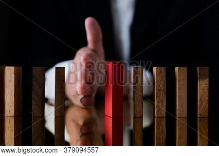 Business Hand Man Block Or Secure Protect Falling Wooden Block Falling Down Metaphor Insurance Busin