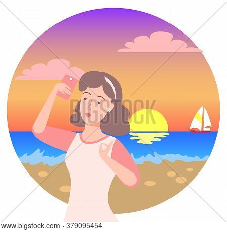Female Character On Vacation Vector, Woman Taking Photo On Sunset. Seascape With Ship, Sundown On Co