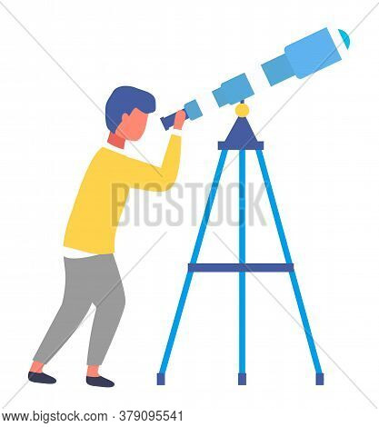 Isolated At White Cartoon Portrait Icon Of Little Boy With Telescope. Kid Exploring Space, Stars, Pl