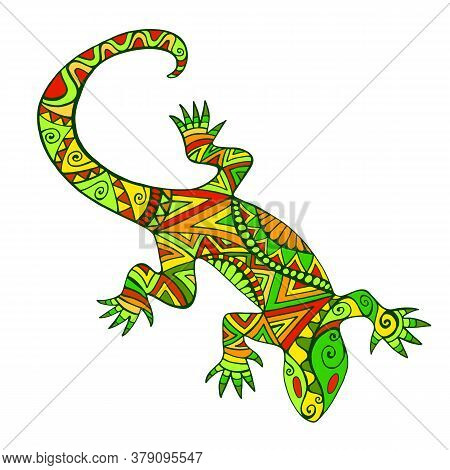 Bright Ethnic Lizard With Many Ornaments, Isolated On White Background.