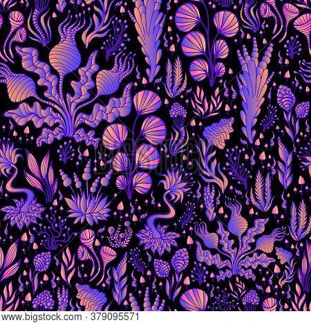 Intricate Vintage Fantastic Colorful Alien Plants Seamless Pattern, Bright Neon Orange Purple Color,