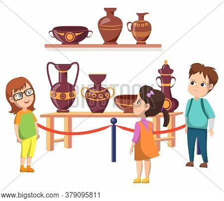 Exhibition With Exponents Vector, Back To School Concept, Kids Looking At Shelves With Amphoras And