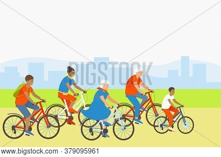 Mom, Son, Dad And Grandparents Are Actively Spending Summer Vacations. Family Rides Bicycles In A Pa