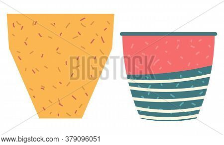 Set Of Striped Vase Isolated On White. Crockery Decorative Jar With Waves Ornament, Color Pot In Fla