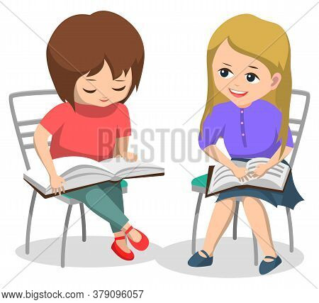 Kids Reading Books And Preparing For Lessons Vector, Children Classmates Sitting On Chairs. Pupils W