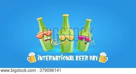 Happy International Beer Day Horizonatal Banner With Cartoon Funny Beer Bottles Friends Characters W