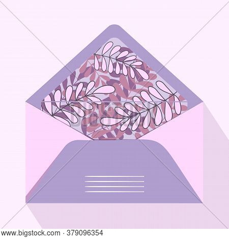 Vector Postal Open Envelope And Postcard With Floral Print On Isolated Background. Purple Envelope F