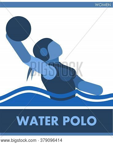 Water Polo Sports. Female Contest. Vector. Icon, Pictogram. Summer International Sports. Girls Are S