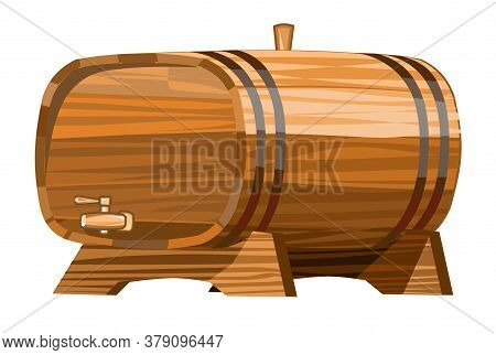 A Barrel Of Wine Or Beer. Vector. Wooden Barrel For Alcohol. Isolated Object On A Transparent Backgr