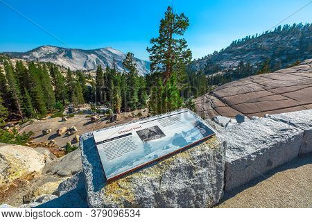 Yosemite National Park, California, United States - August 10, 2019:information Signboard Of Olmsted