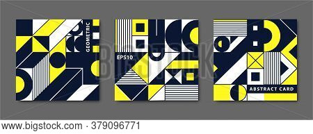 Vector Set Of Vintage Swiss Graphic, Geometric Bauhaus Shapes, Cards. Posters In Minimal Modernism S