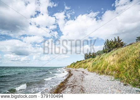 Nordic Coast With Greean Grass And A Pebble Peach Under A Blue Sky With White Clouds