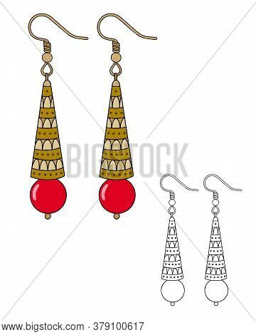 Handmade Jewelry In Ethnic Style: Long Earrings With A Red Bead. Vector Illustration Isolated On A W