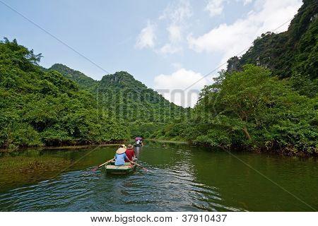 Tourist Boat On Terrestrial Ha Long Bay, Trang An, Ninh Binh, Vietnam