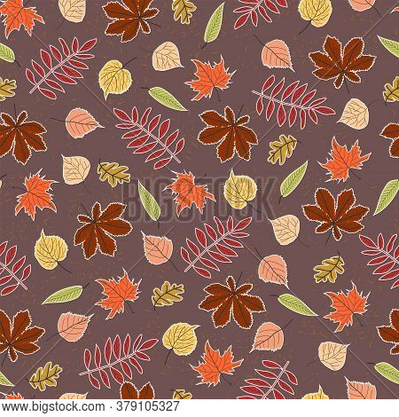 Seamless Pattern Autumn Leaves Of Oak, Maple, Birch, Poplar, Linden, Horse Chestnut And Rowan With W