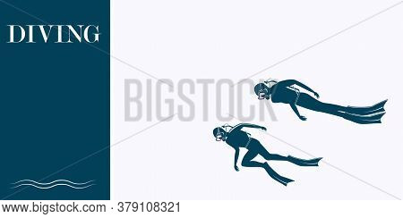 Underwater Sport - Divers - Isolated On White Background - Vector. The Banner Is Horizontal. Busines