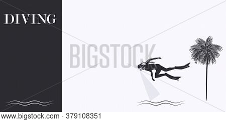 Underwater Sport - Diver, Palm Tree - Isolated On White Background - Vector. The Banner Is Horizonta
