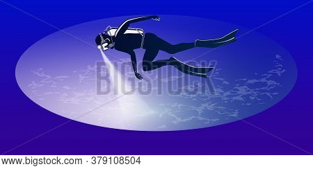 Diver With A Flashlight - Abstract Gradient Background - Vector. The Banner Is Horizontal. Business