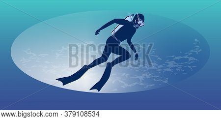 Diver - Abstract Gradient Background - Vector. The Banner Is Horizontal. Business Card. Underwater S