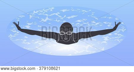 Swimmer - Abstract Background - Vector. The Banner Is Horizontal. Business Card. Water Sport