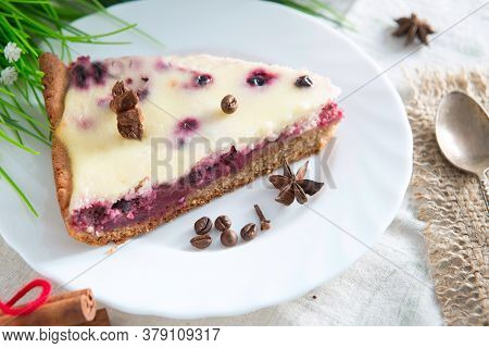 Cottage Cheese Pie With Cherries On Table. Delicious Curd Berry Dessert