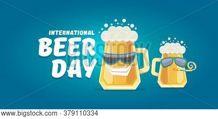 Happy International Beer Day Horizonatal Banner With Cartoon Funny Beer Glass Friends Characters Wit