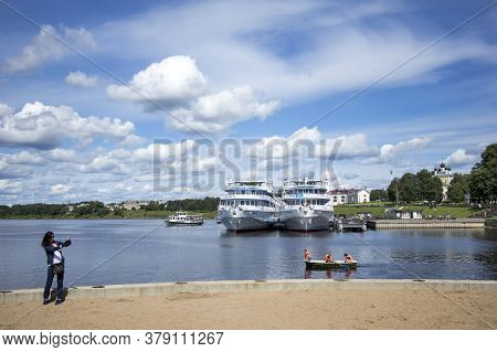 Uglich, Russia, - 26 July 2020, Cruise Ship At The Pier On The Volga River In The Ancient Town