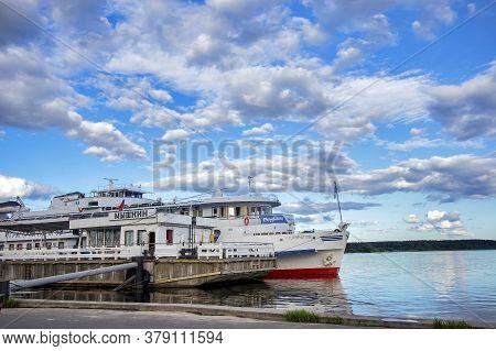Myshkin, Russia - 26 July 2020 Big Cruise Ship Near Uglich