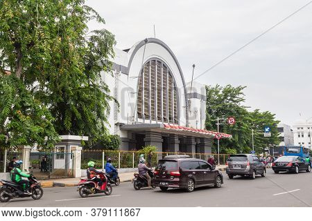 Jakarta, Indonesia - October, 28, 2017 Front View Of The Jakarta Kota Station, Jakarta Indonesia
